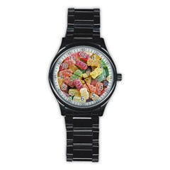 Jelly Beans Candy Sour Sweet Stainless Steel Round Watch