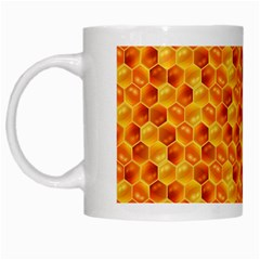 Honeycomb Pattern Honey Background White Mugs