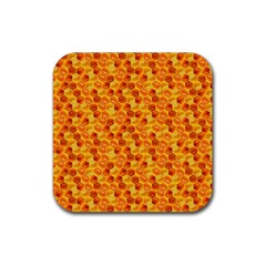 Honeycomb Pattern Honey Background Rubber Square Coaster (4 pack)