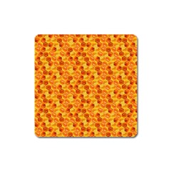 Honeycomb Pattern Honey Background Square Magnet