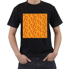 Honeycomb Pattern Honey Background Men s T-Shirt (Black) (Two Sided)