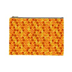 Honeycomb Pattern Honey Background Cosmetic Bag (Large)