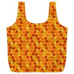 Honeycomb Pattern Honey Background Full Print Recycle Bags (l)