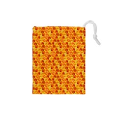 Honeycomb Pattern Honey Background Drawstring Pouches (small)