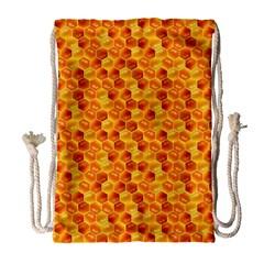 Honeycomb Pattern Honey Background Drawstring Bag (large)
