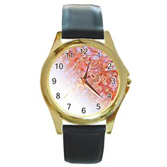 Effect Isolated Graphic Round Gold Metal Watch