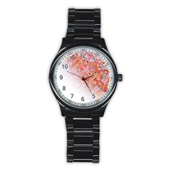 Effect Isolated Graphic Stainless Steel Round Watch