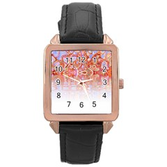 Effect Isolated Graphic Rose Gold Leather Watch