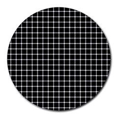 Black and white optical illusion dots and lines Round Mousepads