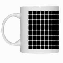 Black and white optical illusion dots and lines White Mugs