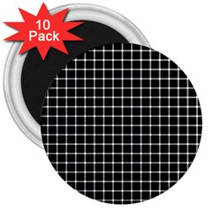 Black and white optical illusion dots and lines 3  Magnets (10 pack)