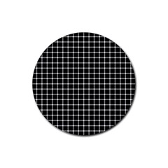 Black and white optical illusion dots and lines Rubber Coaster (Round)