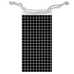 Black and white optical illusion dots and lines Jewelry Bag