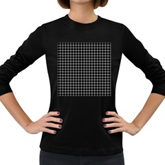 Black and white optical illusion dots and lines Women s Long Sleeve Dark T-Shirts