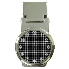 Black and white optical illusion dots and lines Money Clip Watches