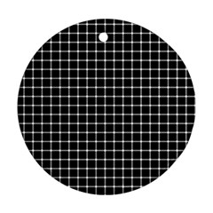 Black and white optical illusion dots and lines Round Ornament (Two Sides)