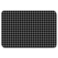 Black and white optical illusion dots and lines Large Doormat