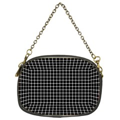 Black and white optical illusion dots and lines Chain Purses (Two Sides)