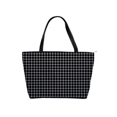 Black and white optical illusion dots and lines Shoulder Handbags