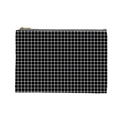 Black and white optical illusion dots and lines Cosmetic Bag (Large)