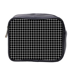 Black and white optical illusion dots and lines Mini Toiletries Bag 2-Side