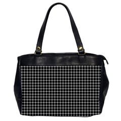Black and white optical illusion dots and lines Office Handbags (2 Sides)