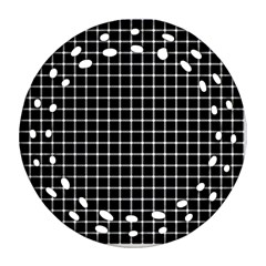 Black and white optical illusion dots and lines Round Filigree Ornament (Two Sides)