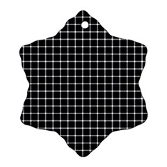 Black and white optical illusion dots and lines Snowflake Ornament (Two Sides)