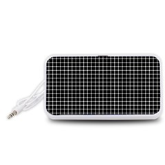 Black and white optical illusion dots and lines Portable Speaker (White)
