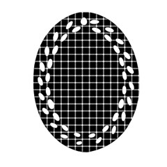 Black and white optical illusion dots and lines Ornament (Oval Filigree)
