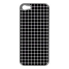 Black and white optical illusion dots and lines Apple iPhone 5 Case (Silver)