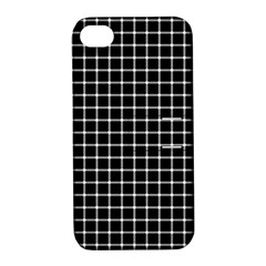 Black and white optical illusion dots and lines Apple iPhone 4/4S Hardshell Case with Stand