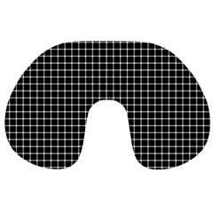 Black and white optical illusion dots and lines Travel Neck Pillows