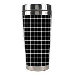 Black and white optical illusion dots and lines Stainless Steel Travel Tumblers