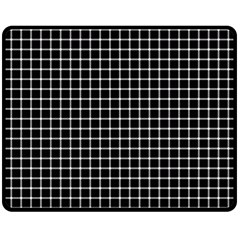 Black and white optical illusion dots and lines Double Sided Fleece Blanket (Medium)