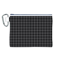 Black and white optical illusion dots and lines Canvas Cosmetic Bag (L)