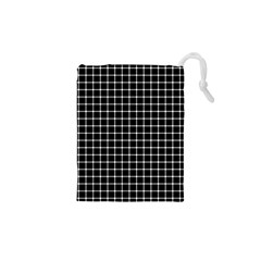Black and white optical illusion dots and lines Drawstring Pouches (XS)