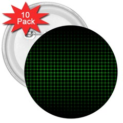 Optical Illusion Grid in Black and Neon Green 3  Buttons (10 pack)