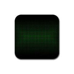 Optical Illusion Grid in Black and Neon Green Rubber Coaster (Square)