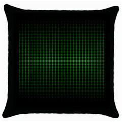 Optical Illusion Grid in Black and Neon Green Throw Pillow Case (Black)