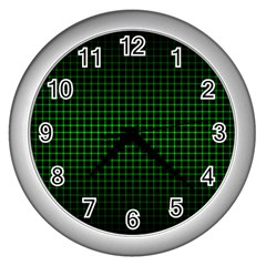 Optical Illusion Grid in Black and Neon Green Wall Clocks (Silver)