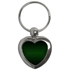 Optical Illusion Grid in Black and Neon Green Key Chains (Heart)