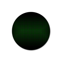 Optical Illusion Grid in Black and Neon Green Rubber Coaster (Round)