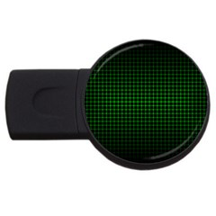 Optical Illusion Grid in Black and Neon Green USB Flash Drive Round (2 GB)