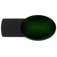 Optical Illusion Grid in Black and Neon Green USB Flash Drive Oval (1 GB)