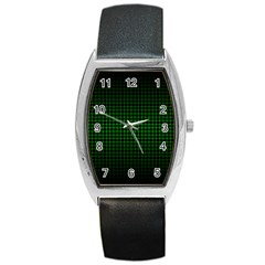 Optical Illusion Grid in Black and Neon Green Barrel Style Metal Watch