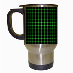 Optical Illusion Grid in Black and Neon Green Travel Mugs (White)