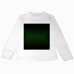 Optical Illusion Grid in Black and Neon Green Kids Long Sleeve T-Shirts