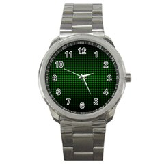 Optical Illusion Grid in Black and Neon Green Sport Metal Watch