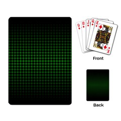 Optical Illusion Grid In Black And Neon Green Playing Card